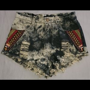 English Rose Tie Dye Distressed Jean Shorts